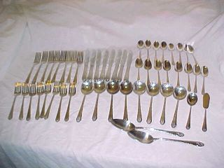 52 Pcs Set Lovely Lady Flatware Silverplate Service 8 Holmes Edwards 1937 photo