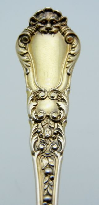 Gorham Sterling Silver Bon Bon Spoon Old Baronial Gold Wash photo