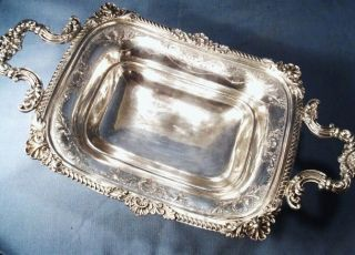 Victorian English Silver Silverplate Handled Serving Dish 1860 ' S Highest Quality photo
