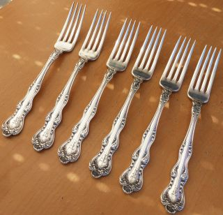 6 Holmes & Edwards Silverplate Dinner Forks,  Orient,  Venice,  1904, photo