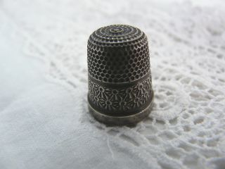 Vintage Solid Silver Thimble,  1926 Size 13 photo