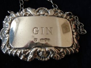 Silver Ornate Gin Decanter Label London 1978 13 Grams. photo