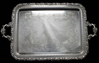Very High Quality Gorgeous Large Antique Silver Plate Tea Service Platter Tray photo