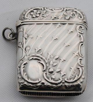 Art Nouveau Sterling Silver Match Safe Vesta Case Box German Repousse photo
