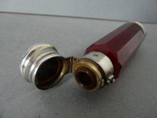 Excellent Antique Silver & Ruby Glass Double End Perfume & Vinaigrette Bottle photo