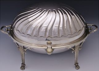 Lovely 19thc Victorian Silver Plate Revolving Dome Breakfast Entree Serving Dish photo