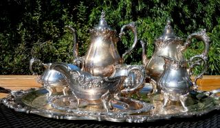 Amazing Wallace Grand Baroque Silver Plate Tea And Coffee,  Samovar Tray Set photo