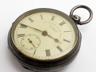 Antique Victorian J.  G.  Graves Solid Sterling Silver Heavy 127g Pocket Watch photo