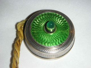 Continental Silver & Enamel Bell Push Of Lovely Green Colour photo
