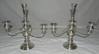 2 Antique Samuel S Kirk 10/49 3 Tiered Sterling Silver Candlelabra Candlestick photo