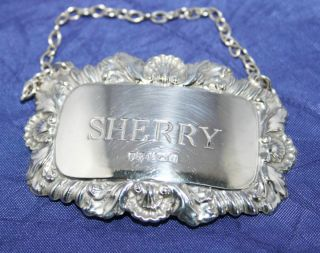 Pretty Vintage English Solid Silver Sherry Decanter Label By John Rose 1968 photo
