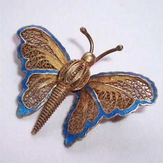 Vintage 925 Silver Gilt/blue Enamel Filigree Topazio Butterfly Brooch photo