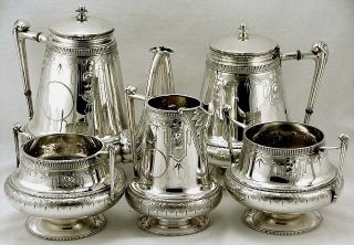 Gorham Sterling Silver Egyptian Tea & Cofee Service Excellent 1869 99oz photo