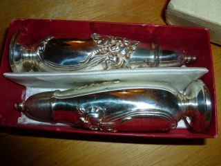Community Salt & Pepper Shakers White Orchid Pattern Silverplate In Box photo