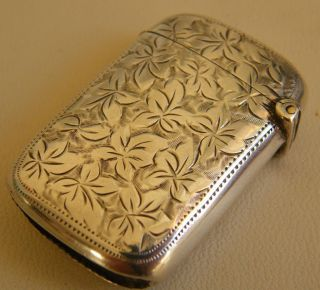 Antique Solid Silver Vesta Case / Match Safe Maker J.  G Circa 1900 Striker Case photo