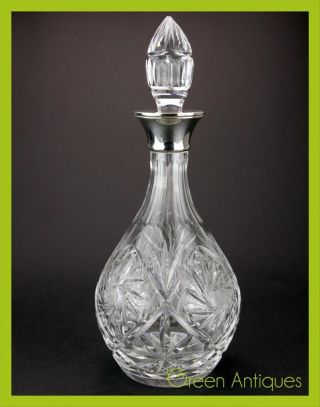 Antique Style 20thc Solid Silver & Cut Glass Decanter,  Roberts & Dore C.  1976 photo