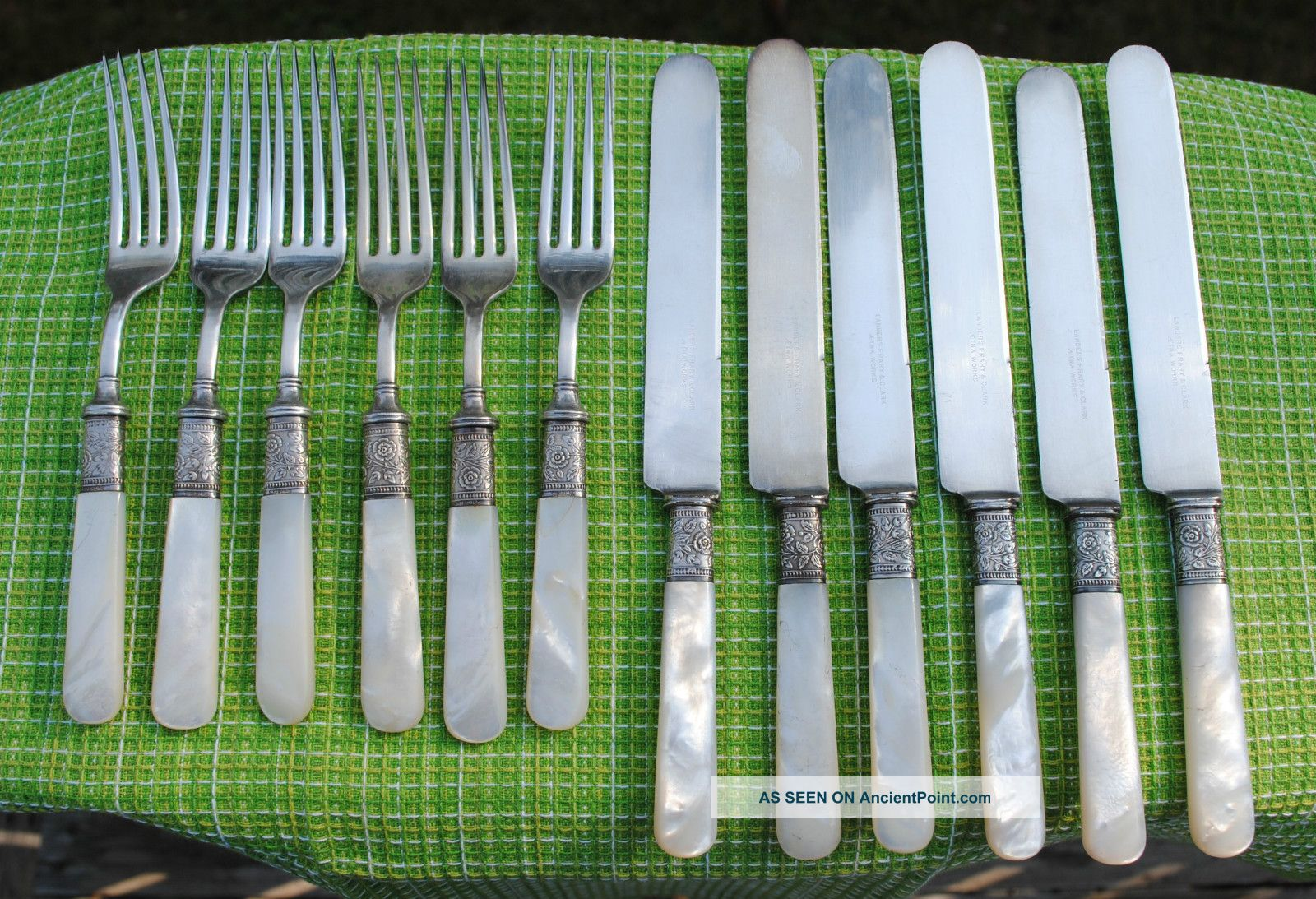Vintage Landers,  Frary & Clark Silverplate & Mother Of Pearl Knives & Forks Other photo