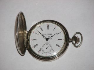 Working Jean Pierre Sterling Silver Cased Swiss Full Hunter Pocket Watch Rrp£500 photo