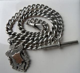 Vintage Solid Silver Graduating Pocket Watch Chain & Double Fob - Necklace 51g photo