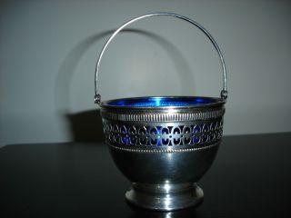 Vintage Sterling Silver Basket Cobalt Blue Glass Liner photo