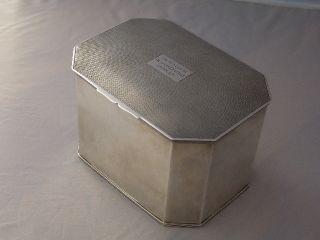 1935 Silver Tea Caddy Box,  Birmingham Hallmarked 16cmx12cmx11cm photo