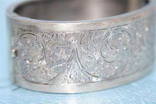 Sterling Solid Silver Cuff Bracelet Bangle Hm Birmingham 1882 Bright Cut photo