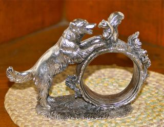 Reed & Barton 1824 Collection Silver Plated Figural Napkin Ring: Dog & Squirrel photo