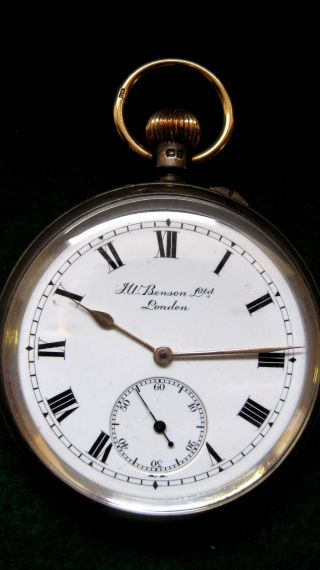 Solid Silver Pocket Watch - - J.  W.  Benson Ltd.  Of London.  Hallmarked: - London 1919 photo