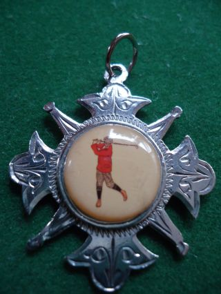 Stunning Victorian H.  M Silver Golfer Golf Fob/medal 1898. photo