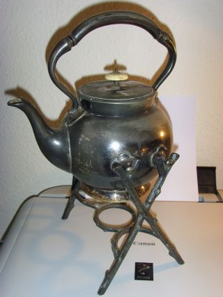 Victorian Silver Plated Britannia Metal Spirit Kettle & Stand Faux Ivory Knop photo