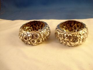 Pr.  George Shiebler Large Heavy Floral Repousse Sterling Silver Salt Cellars,  4.  1 photo