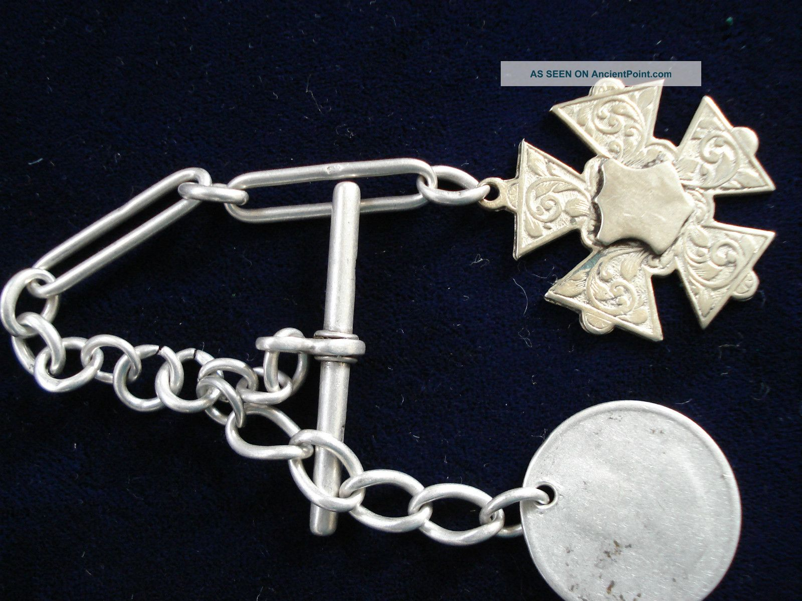 Section Of Silver Watch Chain With Worn Coin And Fob.  20 Grams Pocket Watches/ Chains/ Fobs photo