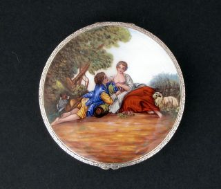 A 1920`s Continental Engine Turned Silver And Guilloche Enamelled Pill Box photo