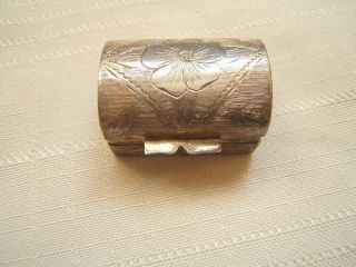 Vintage Sterling Silver Pill Box With Hallmarks Engraved photo