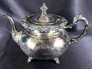 Ornate Onieda Community Silverplate Ascot Teapot Sheffield Design Hinged Lid photo