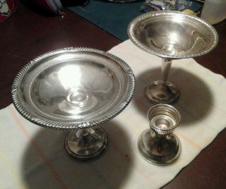 3 Misc Dishes Sterling Silver Lot photo