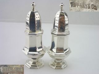 Tiffany & Co Silver Salt & Pepper America 1900 4oz Paneled Form photo