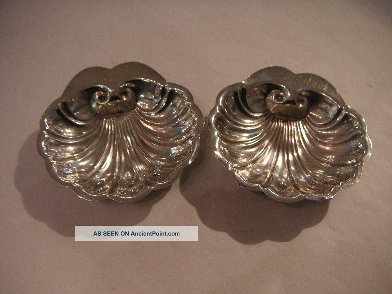 Pair Of Sterling Silver Shell Shape Trinket Dishes Dishes & Coasters photo