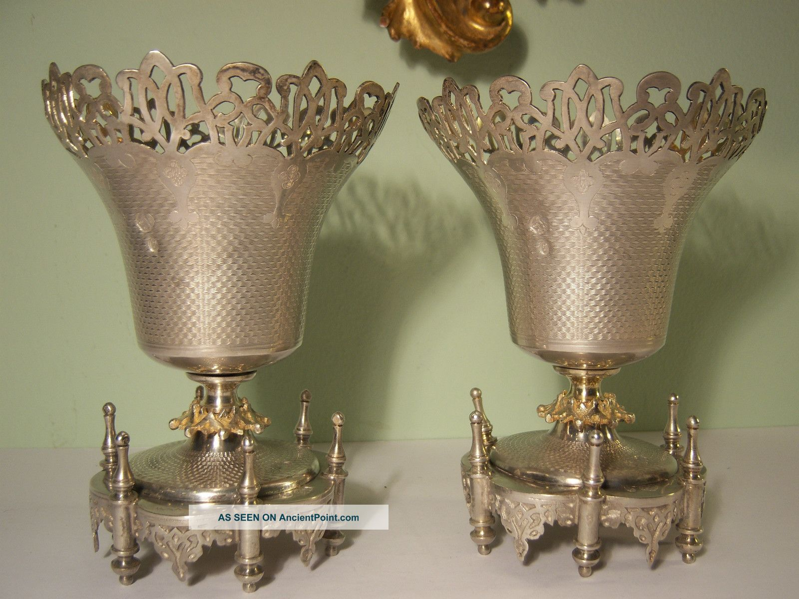 Pair Antique Turkish Silver With Gold Wash Ottoman Empire Museum Quality Vases Middle East photo