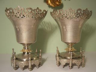 Pair Antique Turkish Silver With Gold Wash Ottoman Empire Museum Quality Vases photo