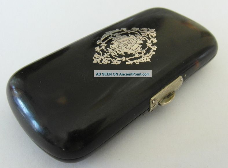 Lovely Victorian Antique Silver Pique Purse Cigarette Or Cigar Case Card Cases photo