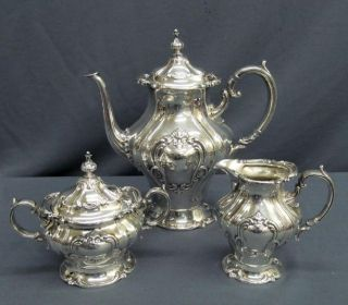 Vintage Gorham Silver Plate Chantilly Heavy Three Piece Tea Set photo