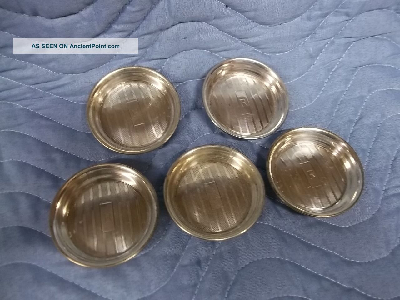 Five Small Sterling Coasters Art Deco Butter Pats Dishes & Coasters photo
