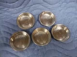 Five Small Sterling Coasters Art Deco Butter Pats photo