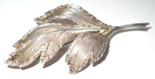 Vintage Silver Leaf Shaped Decorative Brooch - H06 photo