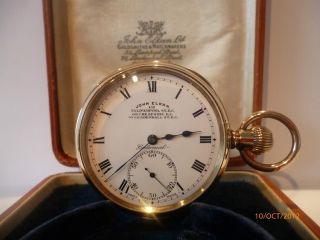 Immaculate Elgin Cased Gold Pocket Watch London Goldsmiths John Elkan Ltd. photo