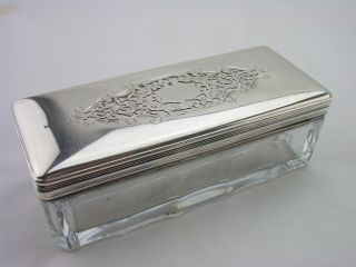 Scarce Silver Toilet Jar France 1819c Scroll Pierced Design 950 Grade photo