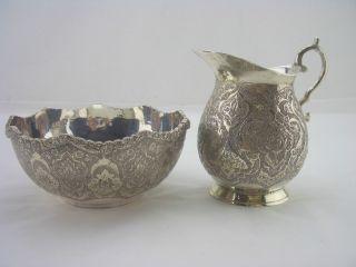 Iranian Silver Sugar Bowl & Creamer - 1900c 11oz Foliage Designs photo