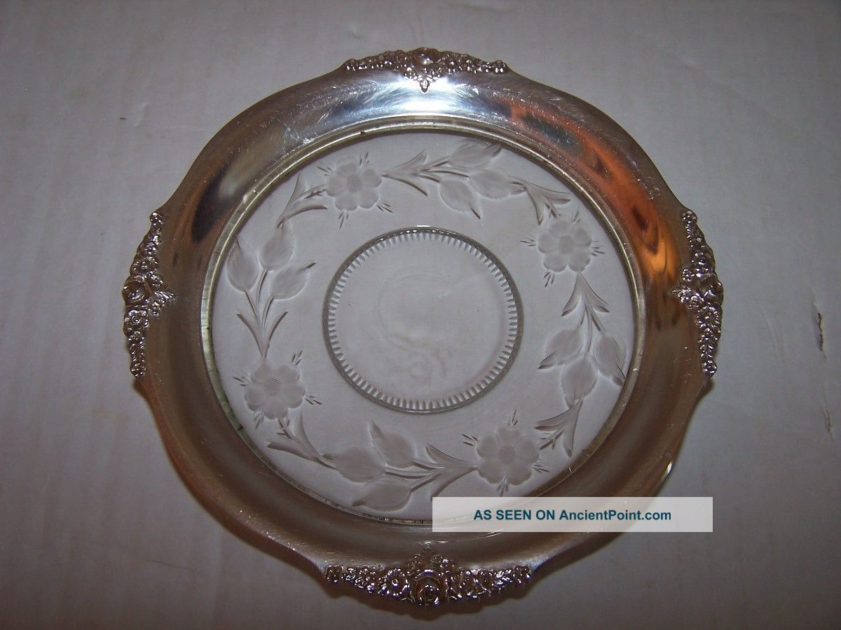 Vintage George K.  Webster Sterling Silver & Etched Glass Rose Floral Plate Nr Dishes & Coasters photo