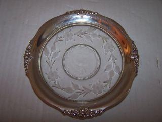 Vintage George K.  Webster Sterling Silver & Etched Glass Rose Floral Plate Nr photo